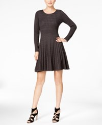 Calvin Klein Fit And Flare Pleated Sweater Dress Charcoal