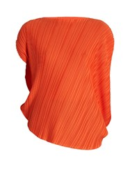 Issey Miyake Pleated Asymmetric Top Orange