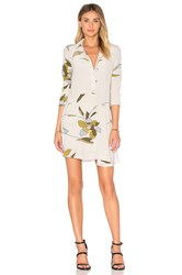 Halston Long Sleeve Shirt Dress Beige