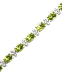 Macy's Sterling Silver Bracelet Peridot 14 Ct. T.W. And Diamond Accent Bracelet