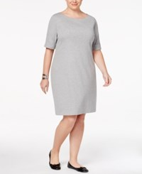 Karen Scott Plus Size Elbow Sleeve T Shirt Dress Only At Macy's Smoke Grey Heather