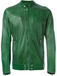 Diesel Zipped Leather Jacket Green