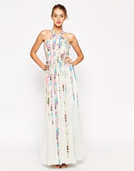 Asos Mesh Fit And Flare Maxi Dress In Floral Print Multi