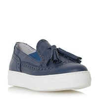 Dune Ebby Tassle White Outersole Loafers Navy