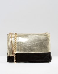 Urbancode Metallic Leather Clutch Bag With Optional Cross Body Strap Gold Black