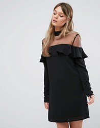 Fashion Union Frill Dress With Sheer Panel And Choker Detail Black