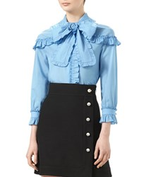 Gucci Muslin Shirt With Ruched Detail Sky Blue