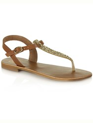 Daniel Hessay Glitter T Bar Toe Post Sandals Brown