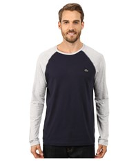 Lacoste Color Block Baseball Jersey Tee Shirt Navy Blue Silver Chine Men's T Shirt Black