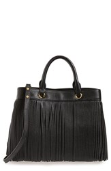 Milly Fringed Leather Tote Black