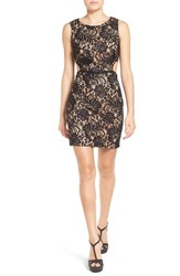Way In Women's Illusion Lace Body Con Dress Black Deep Dry Peach