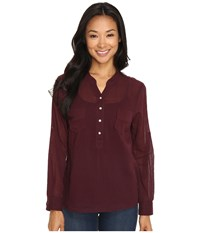 Carve Designs Dylan Chambray Shirt Mulberry Women's Long Sleeve Pullover Purple