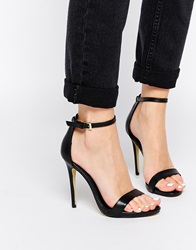 New Look Paz Leather Barely There Heeled Sandals Black