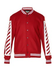 Off White Logo Print Varsity Jacket Red