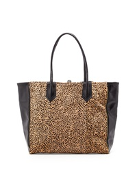 Lauren Merkin Reese Leather Calf Hair Tote Bag Camel Black