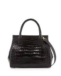 Loop Crocodile Small Satchel Bag Black Shiny Nancy Gonzalez