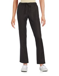 Context Drawstring Linen Pants Black