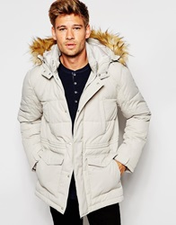 Asos Quilted Fishtail Parka With Faux Fur Hood In White