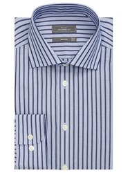 John Lewis City Stripe Non Iron Tailored Fit Shirt Navy White