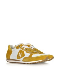 D'acquasparta Amalfi White Leather And Yellow Suede Sneaker