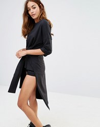 Noisy May High Low Tie Front Sweat Dress Black
