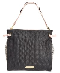 Betsey Johnson Flower Strap Hobo Black