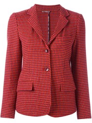 Etro Houndstooth Blazer Red