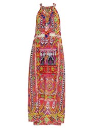 Camilla Sacred Weave Embellished Silk Dress Red Multi