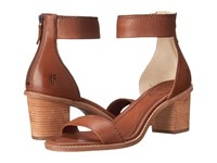 Frye Brielle Back Zip Sandal Whiskey Soft Vintage Leather High Heels Tan