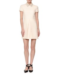 Valentino Short Sleeve Pleated Front Mini Dress Ivory