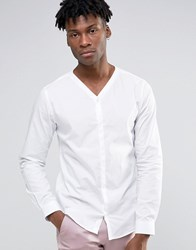 Noak V Neck Shirt With Concealed Placket White
