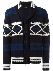 Fay Patterned Cardigan Blue