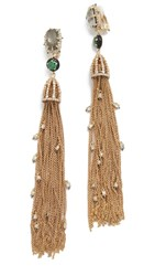 Alexis Bittar Cascading Crystal Clip On Tassel Earrings Gold Green