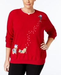 Alfred Dunner Plus Size Dog Holiday Sweater Red