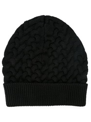 Dolce And Gabbana Cable Knit Beanie Black