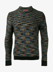 Missoni Zig Zag Knitted Cashmere Sweater Multi Coloured Black Grey Denim