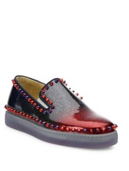 Christian Louboutin Studded Patent Leather Skate Sneakers Multi