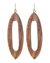 Ashley Pittman Bronze Inlaid Horn Oblong Earrings