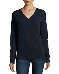 Minnie Rose Cashmere Snap Back Sweater Navy