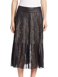Alice Olivia Tianna Lace Panel Leather Midi Skirt Black Matte Gold