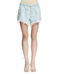 Chloe Acid Wash Frayed Denim Shorts Acid Wash