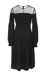 Azede Jean Pierre Open Shoulder Smocked Dress Black