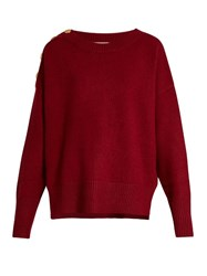 Vanessa Bruno Fidelio Wool Blend Button Embellished Sweater Burgundy