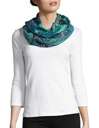 Lord And Taylor Patterned Infinity Loop Scarf Turquoise