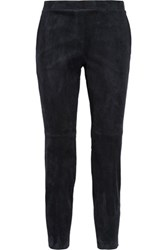 Theory Cropped Stretch Suede Leggings Navy