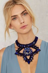 Turning Point Jeweled Collar Necklace Blue