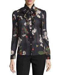 Red Valentino Tie Neck Flowers And Cherries Chiffon Blouse Size 38 0 Black