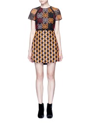 Giamba Butterfly And Diamond Embroidered Eyelet Tulle Dress Multi Colour