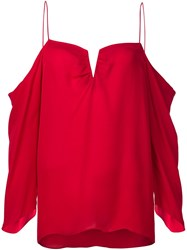 Nicole Miller Cut Out Draped Blouse Red