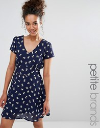 Yumi Petite Tea Dress In Dog Print Navy